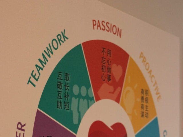 Customer Service, Teamwork, Passion, Proactive & Growth