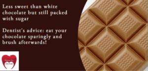 milk chocolate and teeth